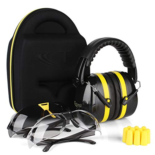 TRADESMART Shooting Ear Muffs, Protective Case, Gun Safety Glasses & Earplugs