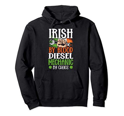Irish By Blood Diesel Mechanic By Choice Ireland Flag Gift Felpa con Cappuccio