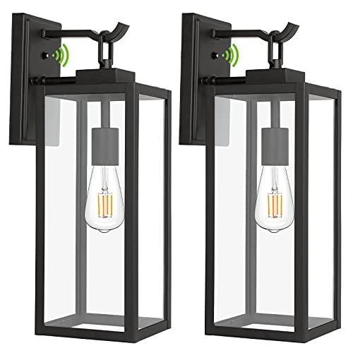Hykolity Large Size Dusk to Dawn Outdoor Wall Lanterns, Matte Black Porch Lights, Exterior Wall Lighting, Anti-Rust Architectural Outdoor Sconces, ETL Listed, 2 Pack