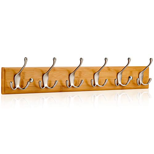 LARHN Wall-Mounted Coat Rack - 6 Matt-Nickel Triple Coat Hooks for Wall on Stylish Wooden Bamboo Base – 59 cm – All Fixings Included