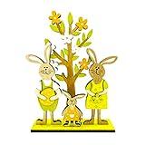 Gadpiparty Fiesta de Pascua Letrero de Madera Conejo de Pie de Dibujos Animados Huevos de Conejito Flor Árbol Modelo de Madera Letrero de Madera de Pascua Adorno para La Oficina en Casa