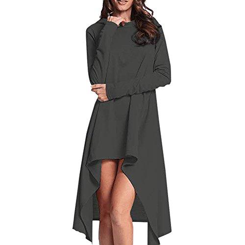 Women Loose Hoodie Long Hooded Ladies Sweatshirt Sweater Asymmetric Blouse Tops Dark Gray
