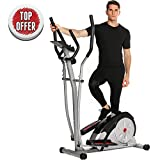 ncient Elliptical Machine Eliptical Trainer Exercise Machine for Home Use Magnetic Smooth Quiet Driven with LCD Monitor and Pulse Rate Grips (Gray)
