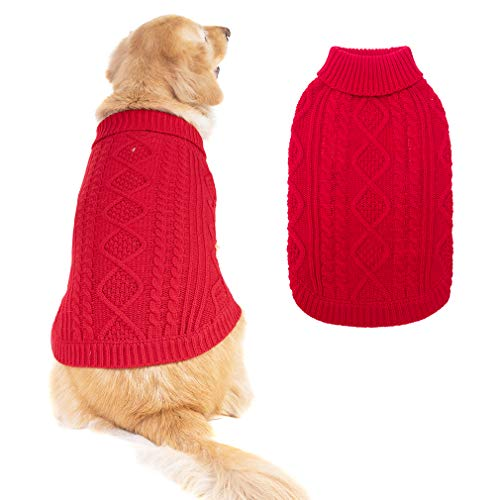 Turtleneck Knitted Dog Sweater - Classic Cable Knit Dog Jumper Coat, Warm Pet Winter Clothes Outfits...