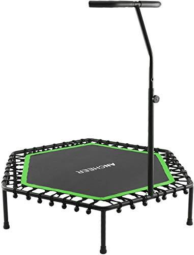 Profun Mini Trampolín Fitness Interior / Exterior - Manillares Ajustables y Sistema de Cuerda Elástica para Niños / Adultos (Carga máxima: 220 lbs) (Verde)