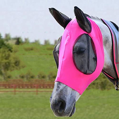 Bythavny Pferde Fliegenmaske, Fliegenmasken für Pferde mit Ohren, glatter und elastischer Lycra-Fliegenmaske, Horse Fly Mask Pferde und UV-Schutz (Cob/Arab,Rosa)