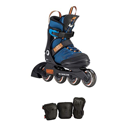 K2 Skate Youth Raider Pro Pack Inline Skates, Blue/Orange, 4-8