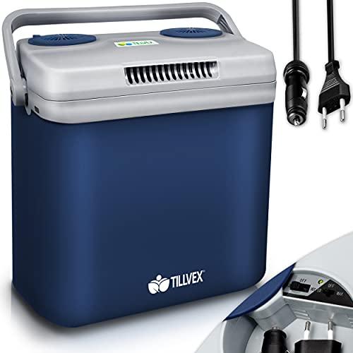 tillvex Glacière électrique 32L   Mini-frigidaire 230 V et 12 V pour camping avec voiture   refroidit et réchauffe   Mode ÉCO (Bleu)