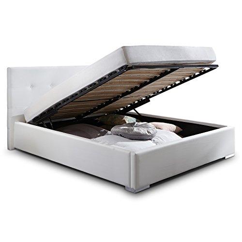 Polsterbett Bett mit Bettkasten 180x200 Weiß Betty Lattenrost Doppelbett Kunstleder