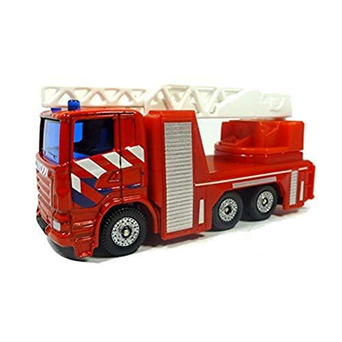 siku 1014003, Feuerwehr-Drehleiter Niederlande, Metall/Kunststoff, Rot, Ausziehbare und drehbare Leiter