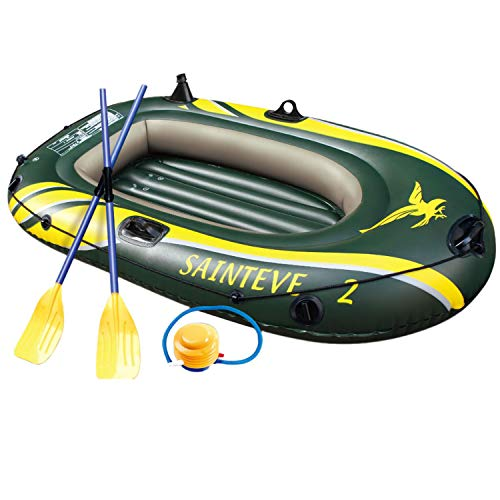 WASAKKY 2 Person Inflatable Boat - Thicken Raft Kayak Assault Rubber Boats,Wear-Resisting Hovercraft Dinghies for Fishing,Entertainment
