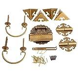 Juego de herrajes para muebles de latón chino, perillas y manijas de caja de madera antigua + bisagras + pestillo + cerradura + pasador en forma de U + protector de esquina
