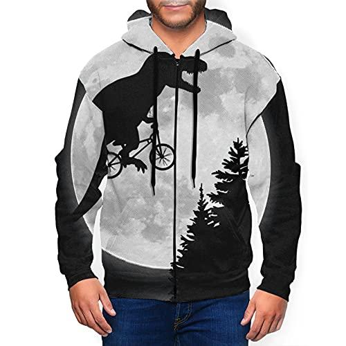 Sudadera con capucha para hombre con cremallera completa con capucha y diseño clásico con capucha, T-Rex Ride Bike To Moon Black, L