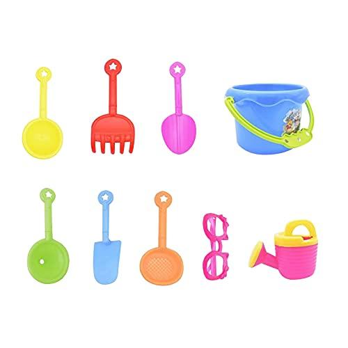 JKKJ Juego de 9 juguetes de arena para playa, incluyendo cubo, gafas, palas, rastrillos, regadera, construir castillos de arena para niños, verano, al aire libre, diversión en la playa