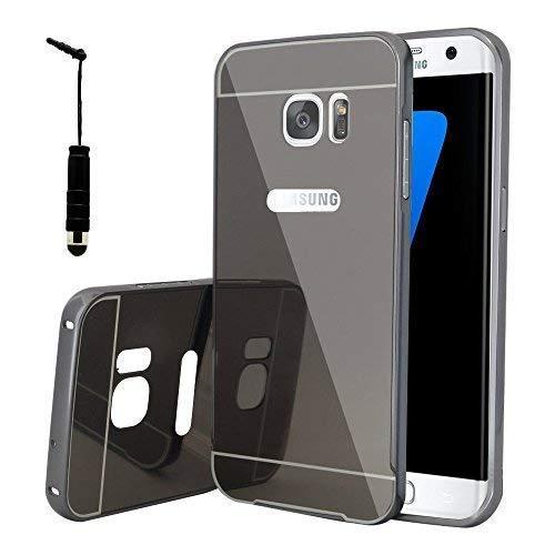 VCOMP ® hoes Bumper aluminium metaal 2 in 1 deksel spiegel achter en Cardre Régide voor Samsung Galaxy S7 Edge G935F/G935FD/S7 Edge (Cdma) G935, Space Gray + mini-stylus