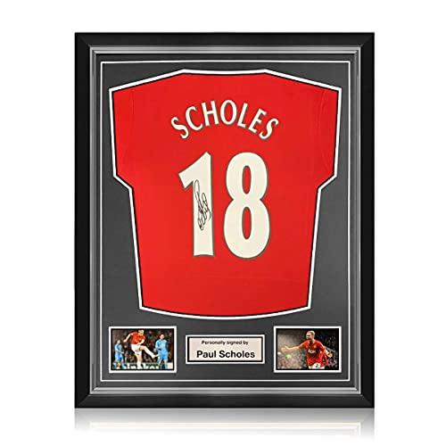 exclusivememorabilia.com Camiseta del Manchester United firmada por Paul Scholes. Marco Superior