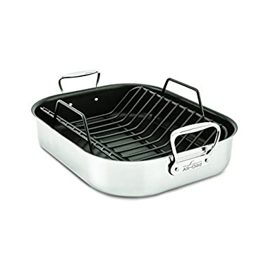 All-Clad E751S264 Stainless Steel Dishwasher Safe Large 13-Inch x 16-Inch PFOA Free Nonstick Roaster with Rack Cookware, 16-Inch, Silver