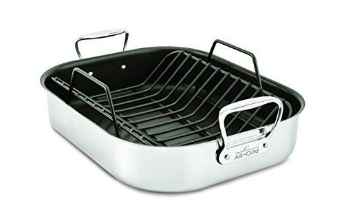 All-Clad E751S264 Stainless Steel Dishwasher Safe Large 13-Inch x 16-Inch PFOA Free Nonstick Roaster with Rack Cookware, 20-lbs, Silver