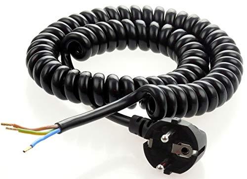Wendelleitung Spiralkabel Anschlusskabel Geräteanschluss mit Schukostecker ausziehbar 3x1 / 2,5m 3-adrig schwarz