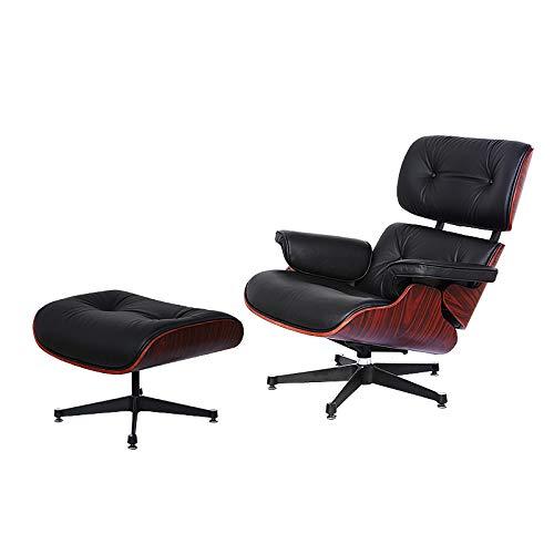 Middeneeuws lederen stoel met Ottomaans,Expanded Size Modern Classic Design Lounge Chair, eames stoel met natuurlijke lederen Palisander Wood, Heavy Duty Base ondersteuning voor woonkamer, studie, lounge