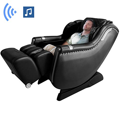 KASPURO A900 Massage Chair Recliner,SL Track 3D Hand Zero Gravity Massage Chairs,Full Body Airbag Calves, 3 Levels Intensity Adjustable,Yoga Stretching, Bluetooth Speaker&Foot Roller(Black)