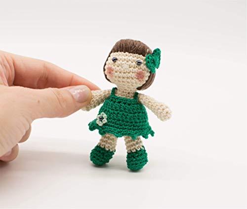 Miniatur Puppe, grüner Dolly, irische Geschenk, Amigurumi Puppe, St. Patrick Geschenk, handgemachte Mädchen Geschenk, kleine Puppe häkeln