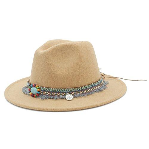 2018 dames heren wollen hoed mode vrouwen Fedora indoor hoed met bohoband, voor dames elegante Jazz-Kirche
