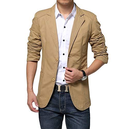 Mens Casual 2 Buttons Slim Fit Jacket Autumn Cotton Blazer Sport Coat