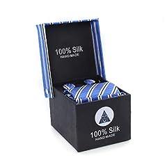 Idea Regalo - LANSILK Business Set Cravatta da Uomo - Cravatta sottile, gemelli e fazzoletto, confezione regalo, 100% seta (Blue Stripe Silk Tie 8)