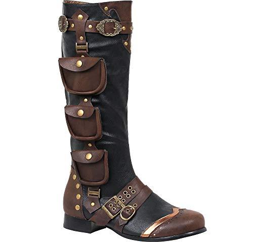 Ellie Shoes Men's Amos Steampunk Boots - Victorian Costume Shoes, Brown, Medium