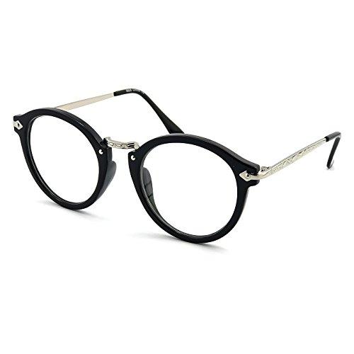 KISS Neutrale Brille stil MOSCOT mod. FLAT - optischer rahmen VINTAGE mann frau unisex - SCHWARZ