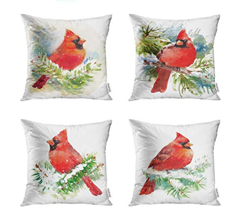 Semtomn Set of 4 Throw Pillow Covers 18x18 Inch Green Painting Watercolor Bird Cardinal Winter Christmas Red Scene Home Decor Cushion Covers Square Pillowcases for Sofa Bed