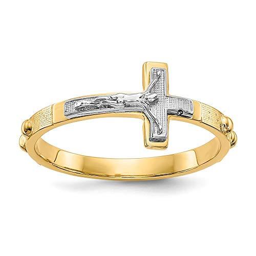 Rosario de crucifijo de oro pulido de 14 quilates de dos tonos, tamaño 6, joyería para mujeres