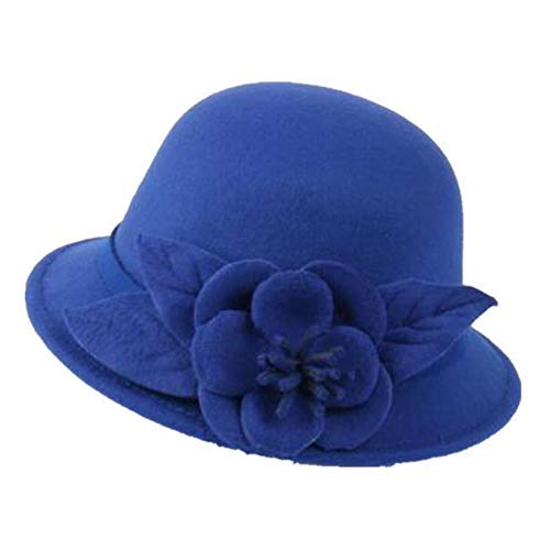 Womens Gatsby Cloche Hat Flower Dress Winter Cap Fashion Fascinators Felt  Bucket Hat 4ebeffa6dfbf