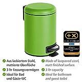 WENKO Kosmetik Treteimer Leman, 3 Liter, Badezimmer-Mülleimer, kleiner Abfalleimer mit herausnehmbaren Einsatz, aus lackiertem Stahl, 17 x 25 x 22,5 cm, Grün matt - 4