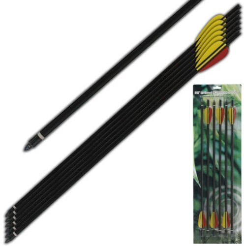 Extra Survival Aluminum Crossbow Arrow/bolt Black 20' 6 Piece Set