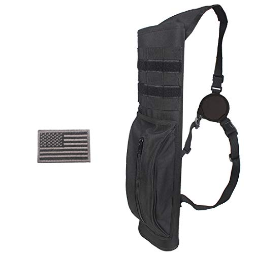 KRATARC Archery Multi-Function Heavy Duty Back Arrow Quiver with Molle System Shoulder Hanged Target Shooting Quiver for Arrows (Black- for Right-Handed)