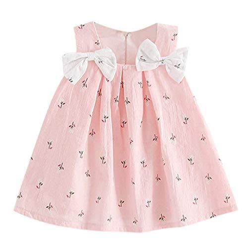Julhold Kleinkind Kind Baby Mädchen Oansatz Kurzarm Solide Bow Print Blumen Hosenträger Prinzessin Party Kleid Sommer