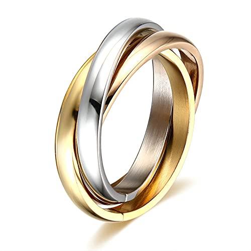 KnSam Anillo para mujer y hombre, anillo de titanio con tres cruz, unisex, plata, negro y dorado, Titanio.,