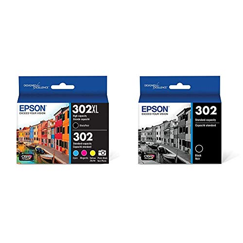 Epson T302XL-BCS Claria Premium Ink Cartridge Multi-Pack - High-Capacity Black and Standard-Capacity Photo Black and Color (CMYPB) & T302 Claria Premium Standard-Capacity Ink Cartridge - Black