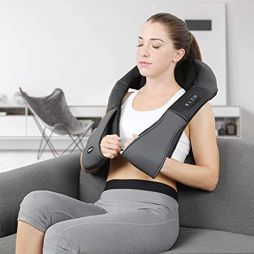 Naipo Appareil Massage Cervicale Massage Nuque Profond Pétrissage Electronique Chauffant Portable Réglable pour Mal Douleur au Corps Cou Dos Épaules Abdomen Lombaire