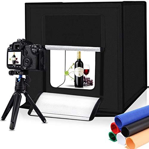 lighting ever light boxes Portable Photo Studio Light Box,16inch Photography Lighting Tent kit,Shooting Lighting Softbox LED 5500k CRI95 & 6 Color Backdrops for Product Display