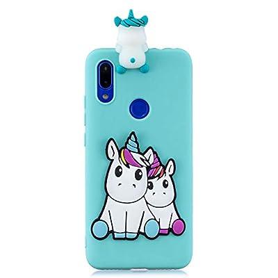 DiaryTown Funda para Xiaomi Redmi 7, Carcasa Silicona Suave Dibujos Animados 3D Antigolpes Ultra Slim TPU Parachoques Ultrafina Protección Resistente Case Cover (Unicornio)