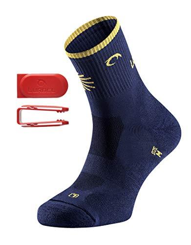 Lurbel Tierra Peregrino, calcetín para el camino de Santiago, calcetines transpirables, Calcetines Anti-ampollas y anti-olor, Calcetines para caminar. calcetín Unisex (AZUL MARINO, GRANDE (43-46))