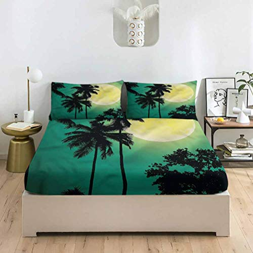 LCGGDB Palm Tree King Size Bed Fitted Sheet Set,Deck Chairs on The Poch Deep Pockets Fitted Sheet with 2 Pillowcase,Print Fitted Sheet Set for Women & Men Bedding