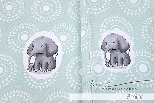 Mamasliebchen Jersey-Stoff jaspal & Suri #Mint (1 Panel, ca. 0,65m) Elefant Hase Panel