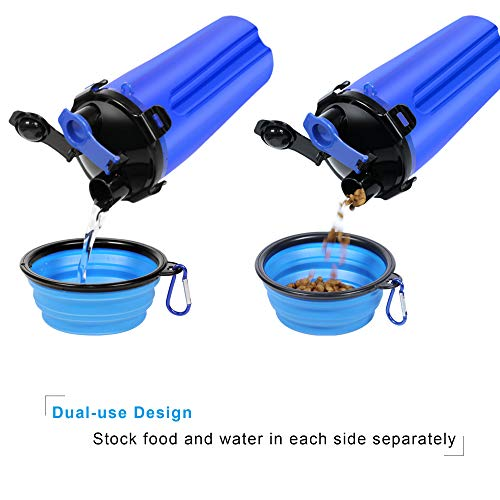 UPSKY Dog Water Bottle Dog Bowls for Traveling Pet Food Container 2-in-1 with Collapsible Dog Bowls, Outdoor Dog Water Bowls for Walking Hiking Travelling ... (Blue)