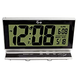 Equity by La Crosse 30041 Digital LCD Alarm Clock with Night Vision, Silver