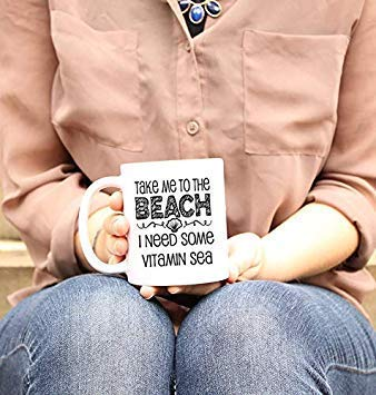 11oz Novelty Coffee Mugs Funny Sayings 11oz - Beach Mug, Beach Quotes, Funny Gift for her, Vacation Gifts, I Need Some Vitamin Sea, Gifts for Friends 935354