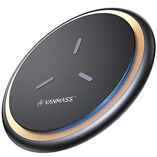 VANMASS Wireless Charger Ladepad [15W Ultra Sicher und Schnellladung] Qi Ladestation Kabellos Ladegerät (Ink. 1.2M Type-C Kabel) für Alle Qi Handys sowie iPhone 13/12/XS/X Samsung S21, Note20 Huawei usw
